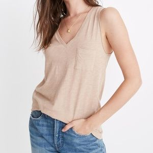 [NWT] Madewell V-Neck Pocket Tank in Sand